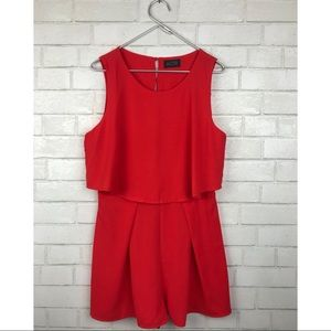 ASTR red romper large slit back double layer
